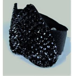Punk Rock Black Crystal Wrap Pu Leather Heart Rivet Cuff Wristband Bracelet
