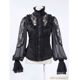 Black Long Sleeves Gothic Victorian Blouse For Women 21152 B