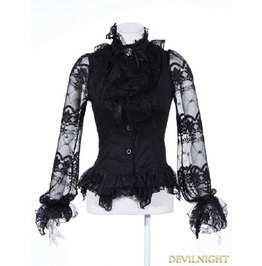 Black Bowtie Gothic Blouse For Women 21095 Bk