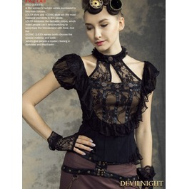 Black Steampunk Halter Short Sleeves Shirt For Women Sp 139 Bk