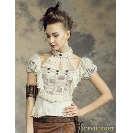 Steampunk Halter Short Sleeves Shirt For Women Sp 139 Wi