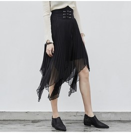 Punk Rave Women's Irregular Layered Chiffon Pleated Skirts Pq237