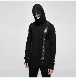 Punk Rave Men's Zipper Irregular Casual Hoodies With Suspender Belts Y680