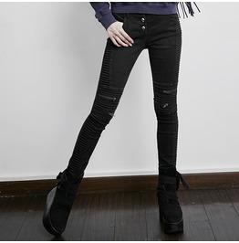 Punk Rave Women's Punk Knee Zipper Skinny Jeans Pk069
