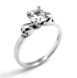 Skull Ring Sterling Silver Diamond Hand Crafted Engagement Ring