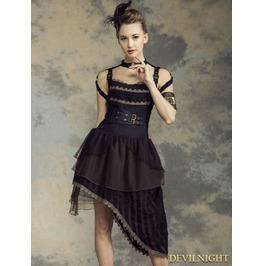 Irregular Belt Steampunk Dress Sp 146 Bk