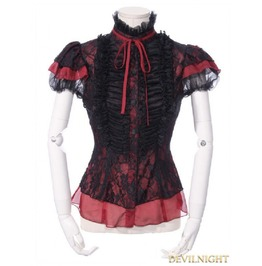 Black And Red Gothic Short Sleeves Lace Blouse For Women 21162 Br