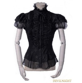 Black Gothic Short Sleeves Lace Blouse For Women 21162 Bk