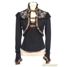 Black Long Sleeves Steampunk T Shirt For Women Sp 156 Bk