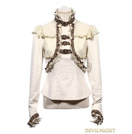 White Long Sleeves Steampunk T Shirt For Women Sp 156 Wi