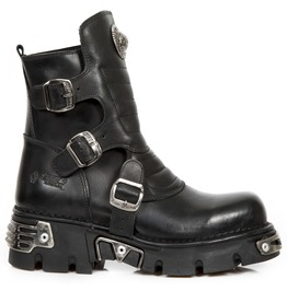 New Rock Black Buckle Designed Boots