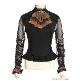 Black Long Sleeve Bowtie Steampunk Shirt Sp 135 Bk