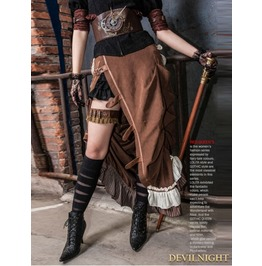 Brown Victorian Steampunk Bustle Long Skirt Sp 083 Cf