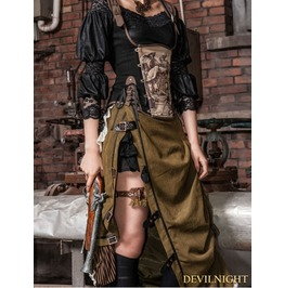 Army Green Victorian Steampunk Bustle Long Skirt Sp 083 Gb