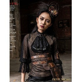 Brown And Black Bowtie Bubble Sleeves Steampunk Shirt Sp 096