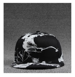 Ink Painting Black & White Style Casual Flat Hat,Fashion Charm Snapback Cap