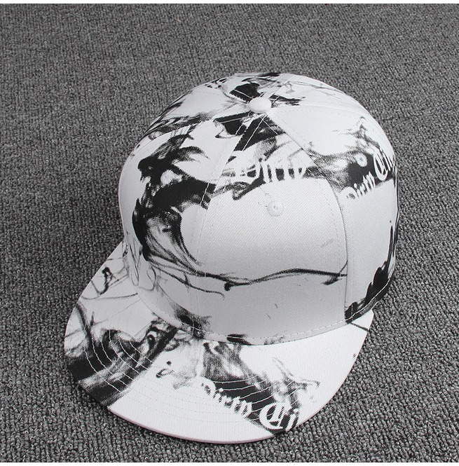 rebelsmarket_ink_painting_black_and_white_style_casual_flat_hat_fashion_charm_snapback_cap_hats_and_caps_3.jpg