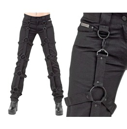 Gothic Ladies Long Pant With Circles Black Woman Detachable Bondage Trouser