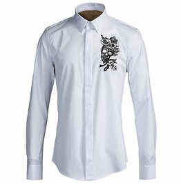 Skull Head Flowers Embroidered Slim Fit Cotton Dress Shirt Men