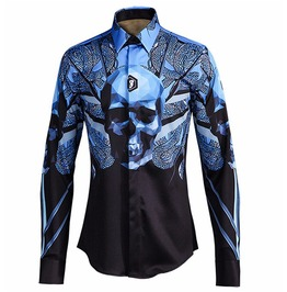Snake Skull Printed Long Sleeve Slim Fit Dress Shirt Men
