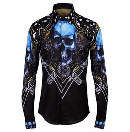 Blue Skulls Floral Printed Long Sleeve Slim Fit Button Dress Shirt Men