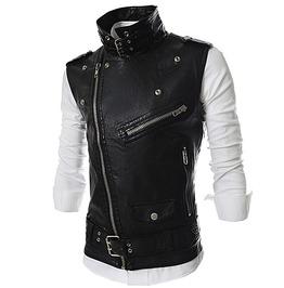 Multi Zip Belted Pu Leather Vest Biker Waistcoat Sleeveless Jacket
