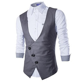 Steampunk Goth Asymmetric Slim Fit Vest Waistcoat Men
