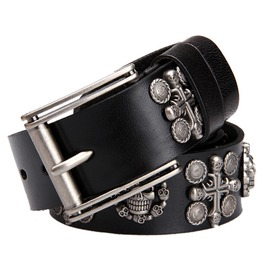 Punk Genuine Leather Belts Mens Biker Rock Skull Cross Black Waist Belts