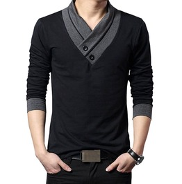 Irregular Collar Slim Fit Long Sleeve Patchwork T Shirt Men