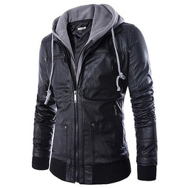 Multi Zip Pockets Solid Hooded Slim Pu Leather Biker Jacket Men
