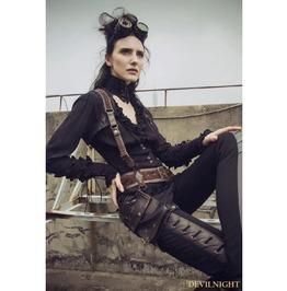 Black Do Old Style Steampunk V Neck Blouses For Women Sp 148 Bk
