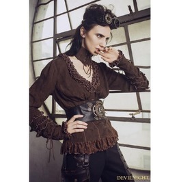 Brown Do Old Style Steampunk V Neck Blouses For Women Sp 148 Cf