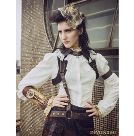 White Vintage Steampunk Shirt With Detachable Bowtie For Women Sp 152 Wi