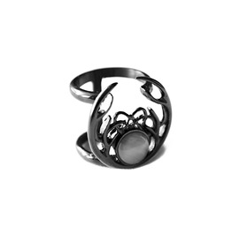 Huntress | Ring In Black ~ Double Band, Antler Ring | Trickery