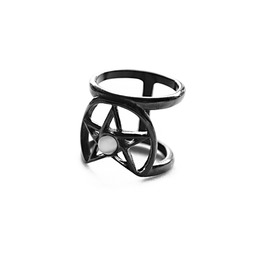 Coven | Ring In Black ~ Gothic, Pentacle, Witchy Double Ring | Trickery