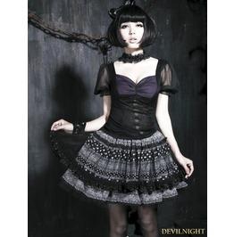 Black And Purple Short Sleeves Gothic Lolits Shirt Lt 003