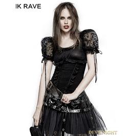Black Gothic Lolita Puff Sleeve Short T Shirt For Women Lt 008