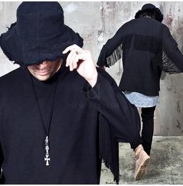 Side Opening Fringe Black Cotton Shirts 772