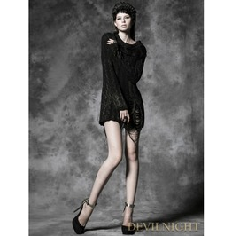 Black Long Sleeves Gothic Sweater For Women M 026