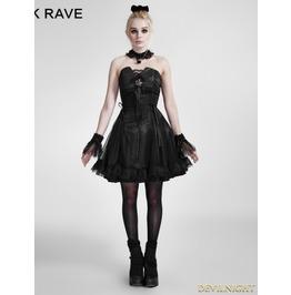 Black Lace Up Gothic Party Dress Q 120