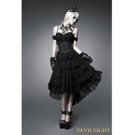 Black Off The Shoulder Gothic Corset High Low Dress Q 203