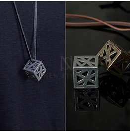 Web Cube Pendant Rope Necklace 68