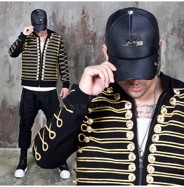 Gold Line Embroidered Napoleon Bomber Jacket 272