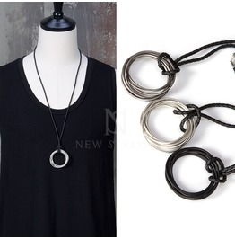 Overlap O Ring Pendant Rope Necklace 67