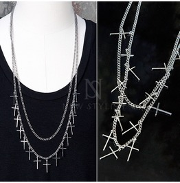Multiple Cross Charm Double Chain Necklace 64
