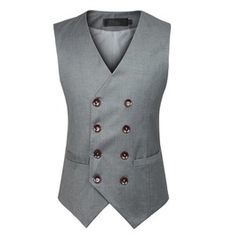 Steampunk Goth Double Breasted Slim Cotton Waistcoat Suit Vest