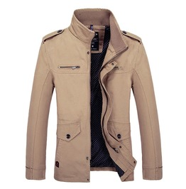 Stand Collar Multi Pocket Slim Fit Spring Autumn Motorcycle Jacket