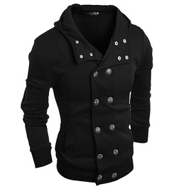 Double Breasted Military Inspired Hooded Sweatshirt Men