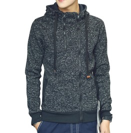 Zipper Closure Men Autumn Winter Solid Hoodie Sweatshirt