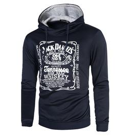Jack Daniel's Whiskey Print Casual Slim Fit Cotton Hooded Sweatshirt Men